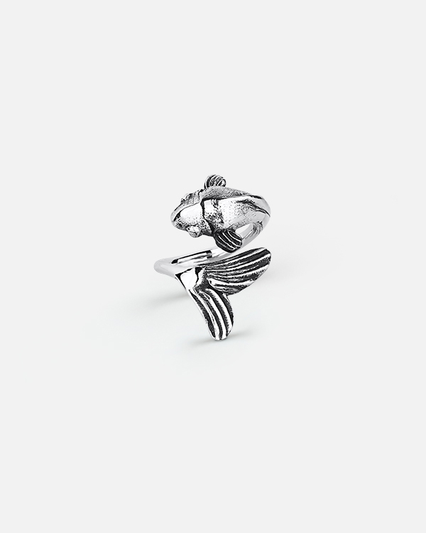 Кольцо на фалангу «Большой серебристый карп»