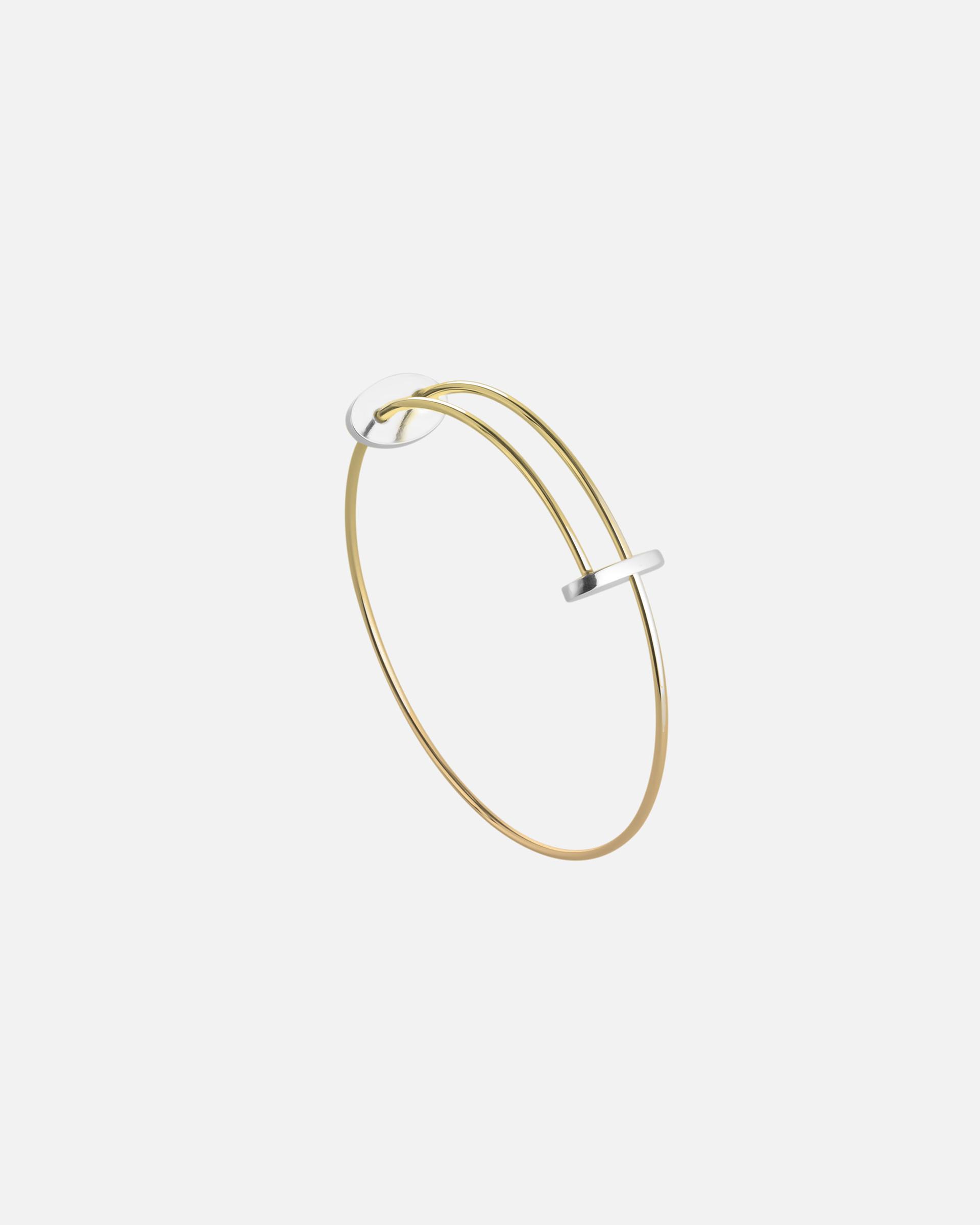 Золотой браслет с двумя серебряными Овалами