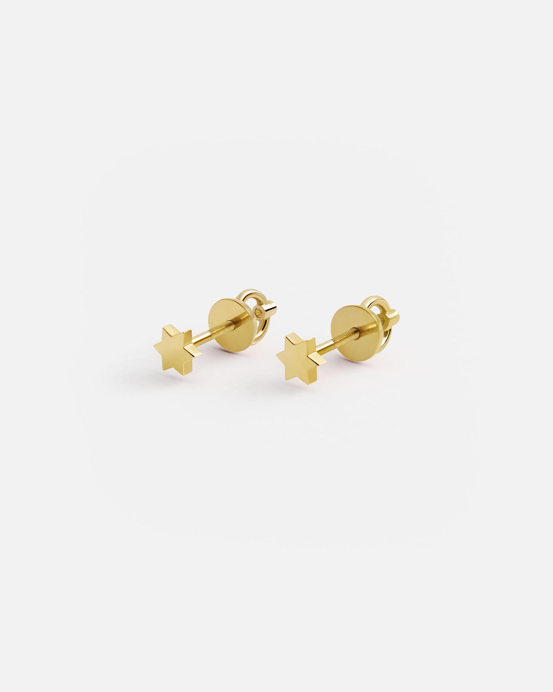Золотые серьги-гвоздики Звездочки
