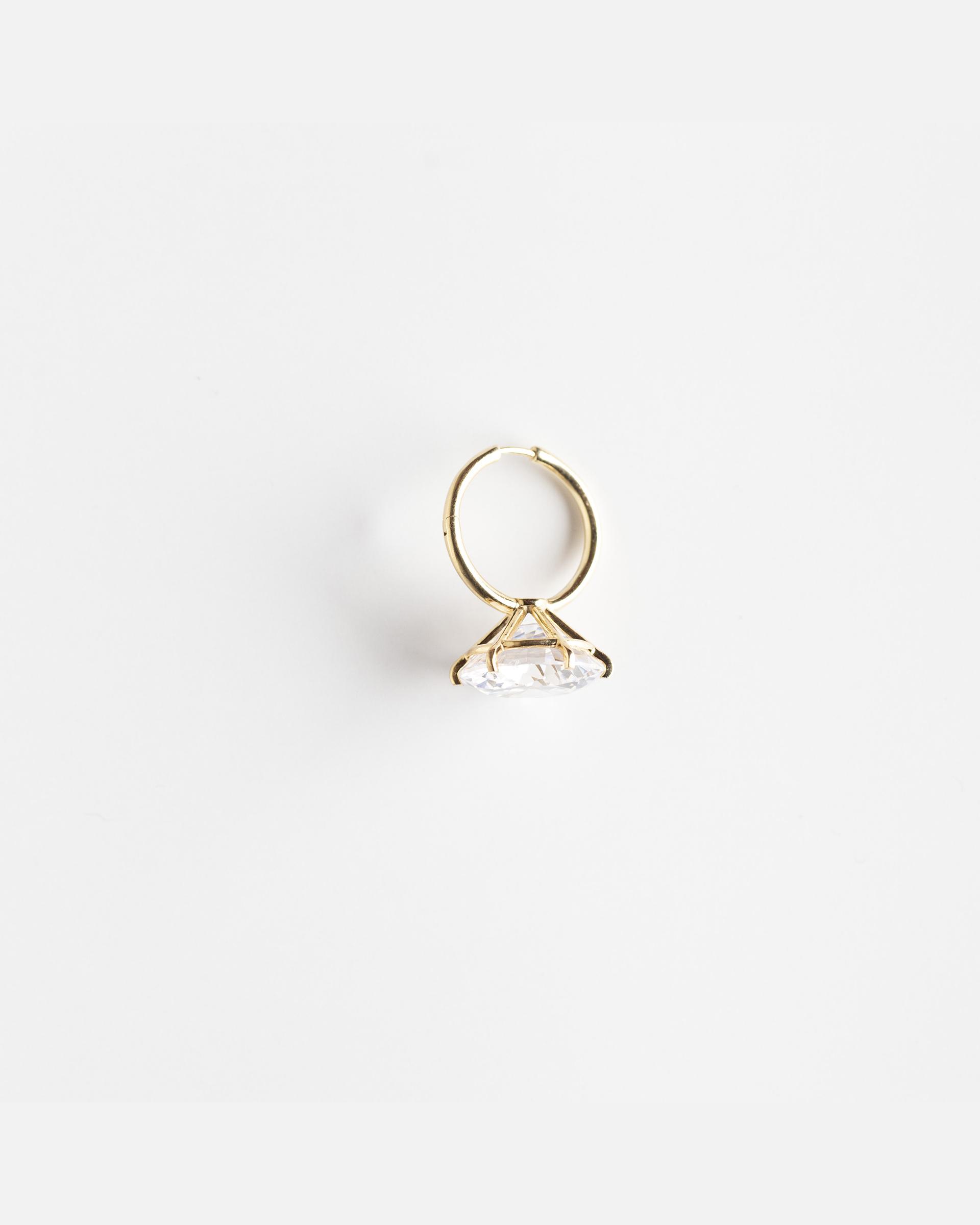 Моносерьга 'Перевернутое кольцо с камнем'